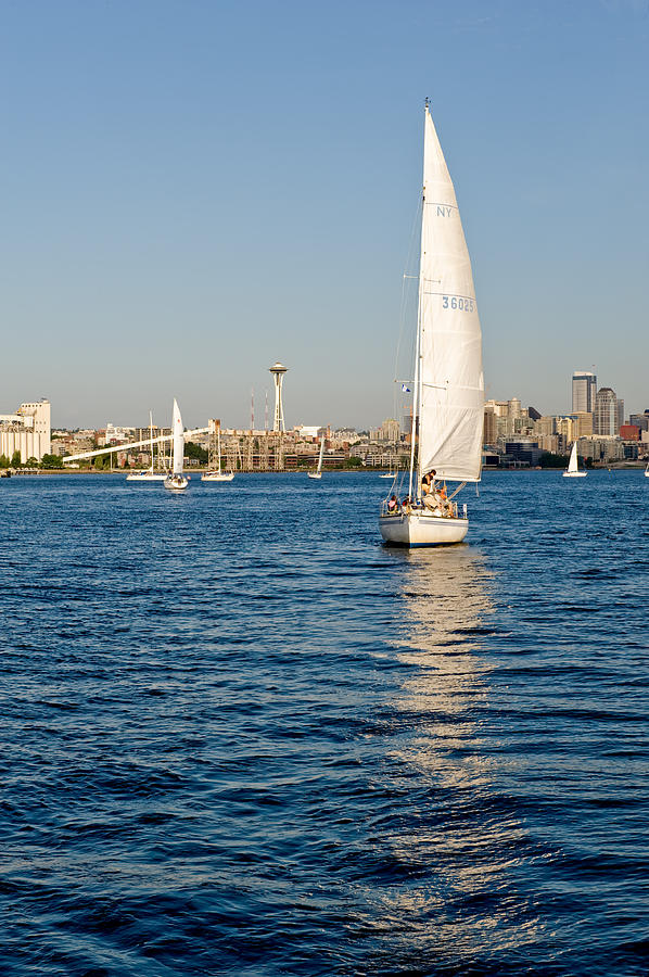 Seattle Photograph - Seattle Sailing by Tom Dowd