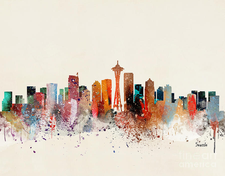 Seattle Cityscape Painting - Seattle Skyline by Bri Buckley