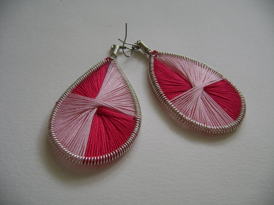 Pink Jewelry - 2 Shaded Pink Earrings by Adina Iancu