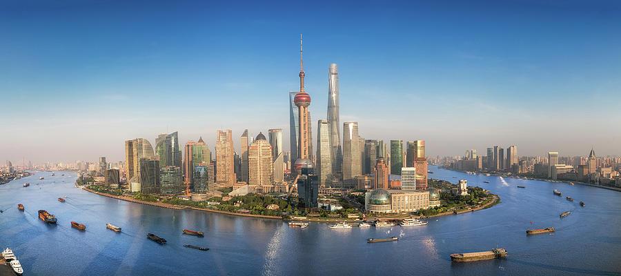 Shanghai Photograph - Shanghai Skyline With Modern Urban Skyscrapers by Anek Suwannaphoom
