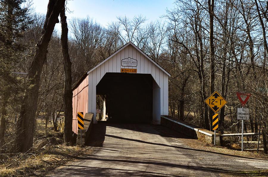 Sheards Photograph - Sheards Mill Covered Bridge - Bucks County Pa by Bill Cannon