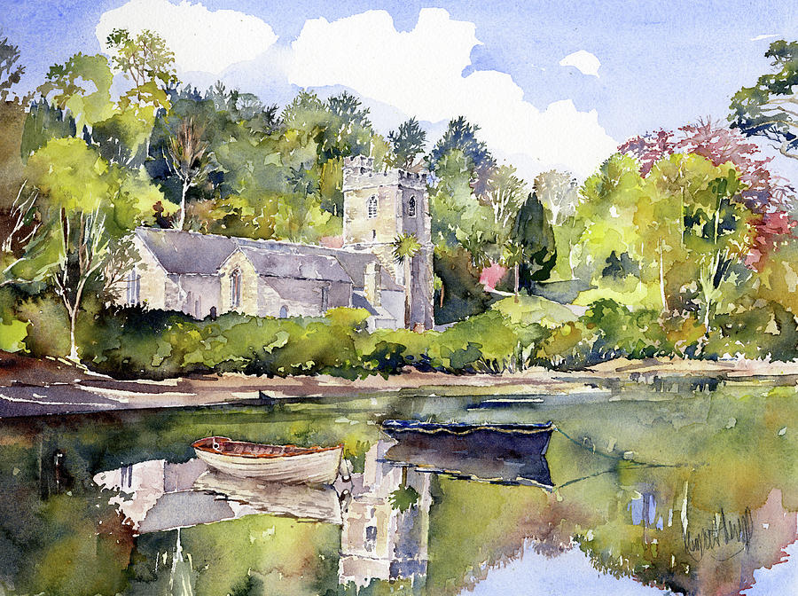 Watercolor Painting - St Just In Roseland Church by Margaret Merry