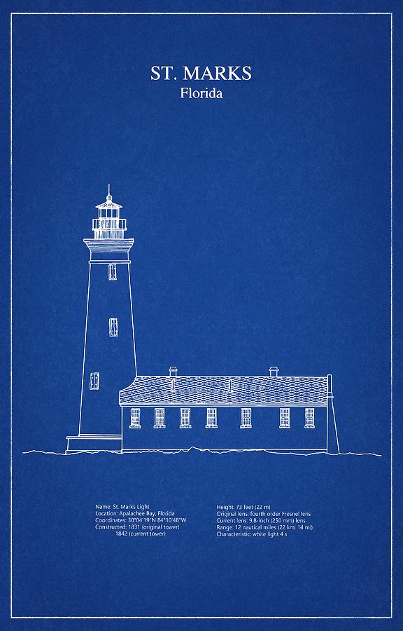 St Marks Lighthouse Florida Blueprint Drawing Digital Art By Stockphotosart Com