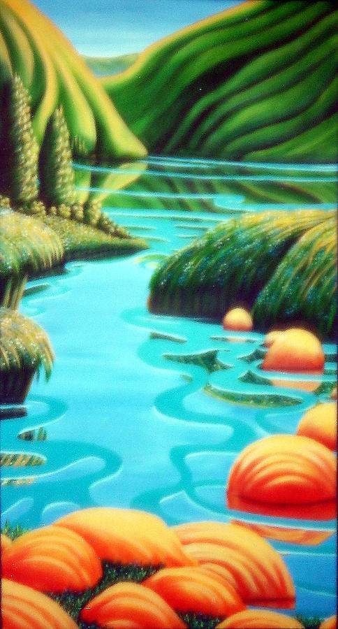 Landscape Painting - Stepping Stones by Barbara Stirrup