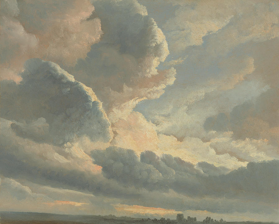 Study Of Clouds With A Sunset Near Rome Painting by Simon Alexandre Clement Denis