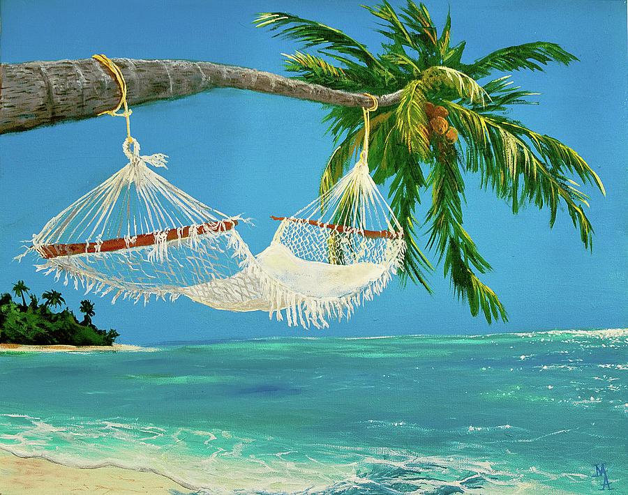 Картинка пальмы и гамак
