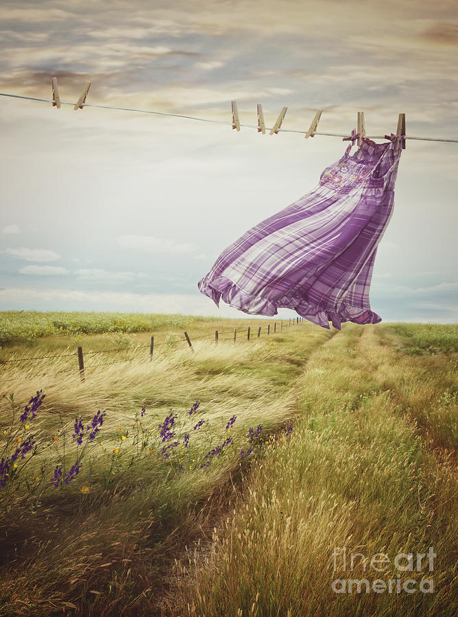 Atmosphere Photograph - Summer Dress Blowing On Clothesline With Girl Walking Down Path by Sandra Cunningham