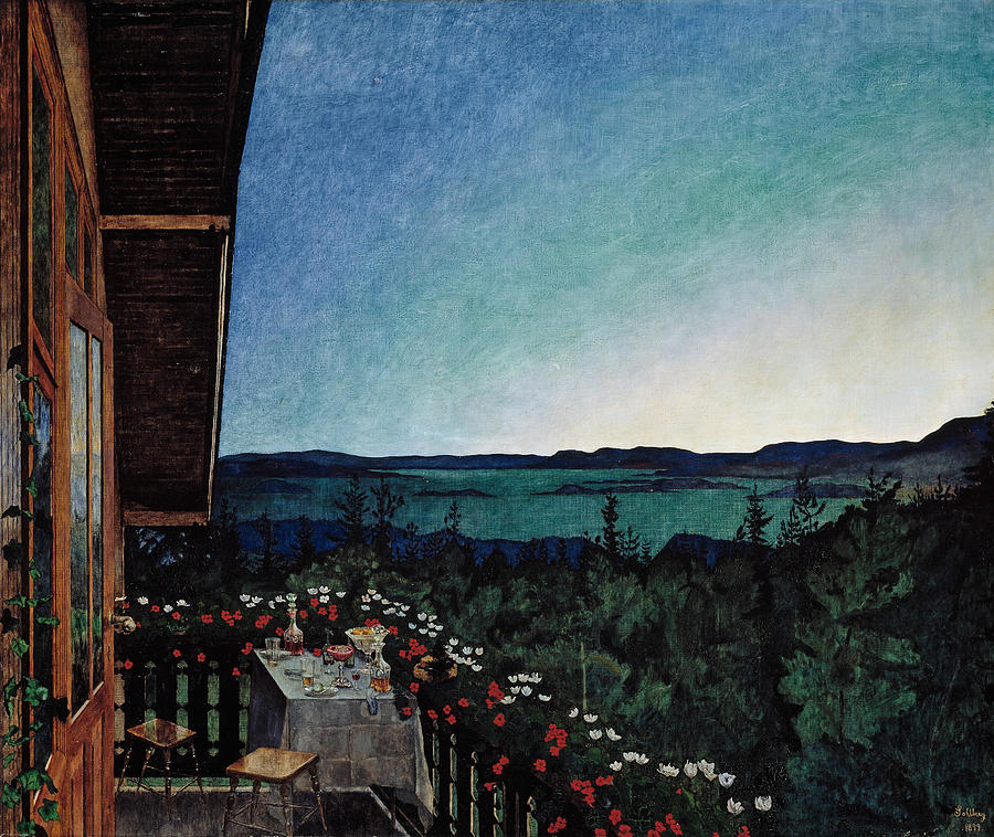 Norwegian Painters Painting - Summer Night by Harald Sohlberg