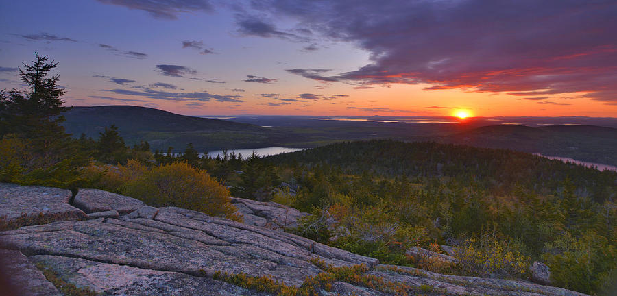 Maine Photograph - Sunset From Cadillac Mountain by Stephen  Vecchiotti
