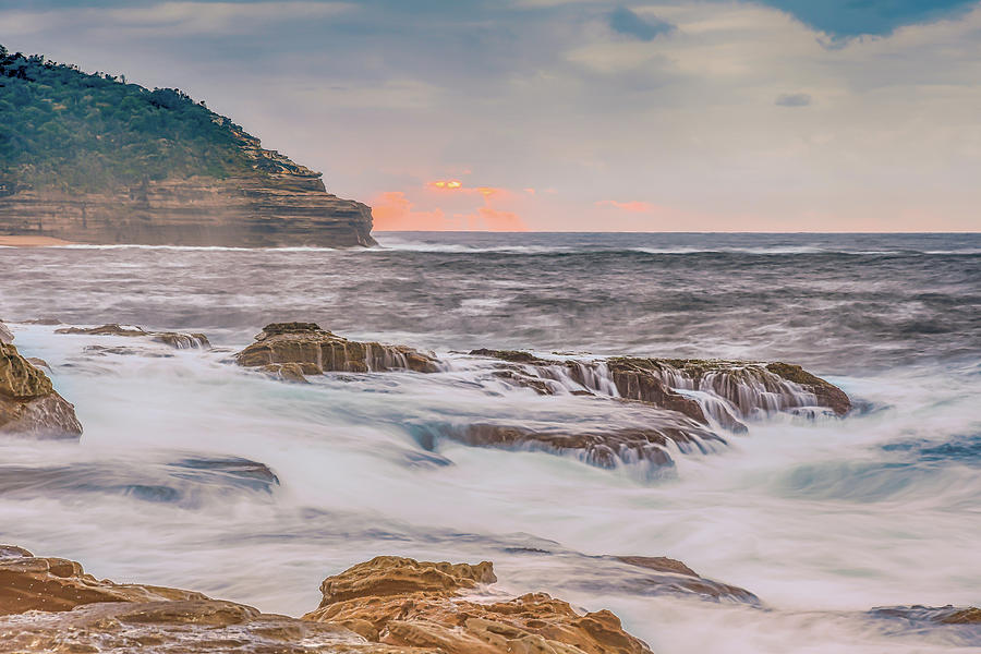 Australia Photograph - Sunrise Seascape And Headland by Merrillie Redden