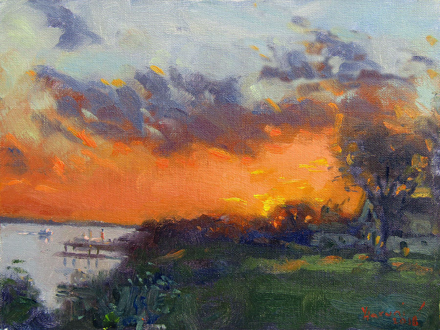 Waterfront Park Painting - Sunset At Gratwick Waterfront Park by Ylli Haruni
