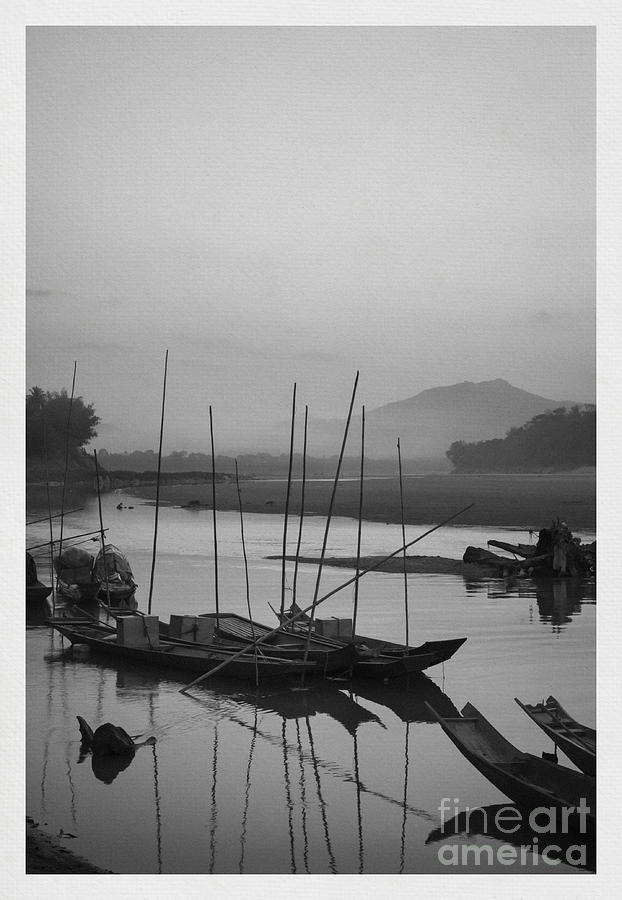 B&w Photograph - sunset at Mae Khong river by Setsiri Silapasuwanchai