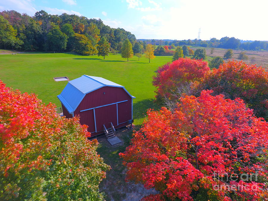 Trees Photograph - Sunset Hill Farms Indiana  by Timeless Aerial Photography LLC