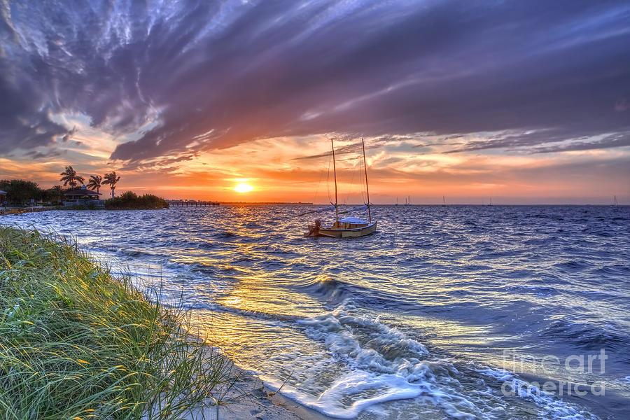 Sunset Photograph - Sunset Sail by Rick Mann