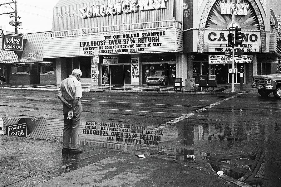 Sunset West Casino In The Rain Casino Center Las Vegas Nevada 1979 Photograph by David Lee Guss