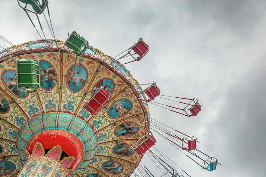 Swings Photograph - Swings In Motion With Stormy Sky by Erin Cadigan