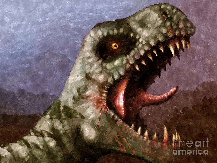 Dinosaur Painting - T-rex  by Pixel  Chimp