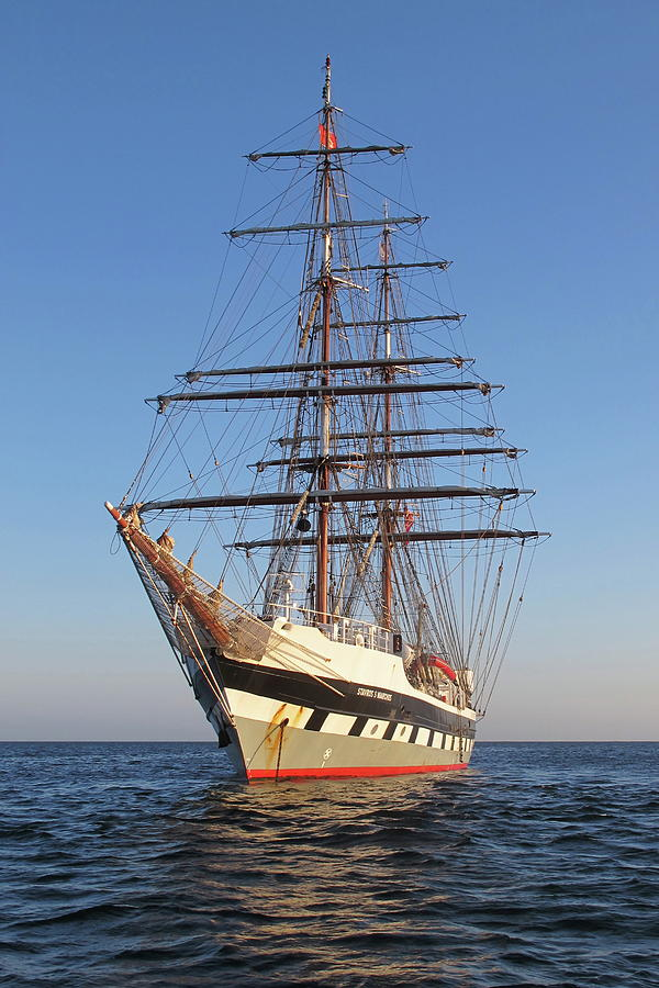 Tall Ship Photograph - Tall Ship Anchored Off Penzance by Tom Wade-West