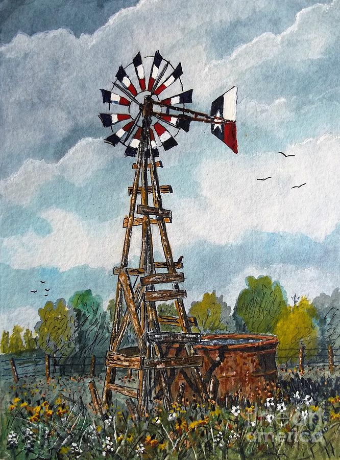 Texas Windmill Painting by Don Hand