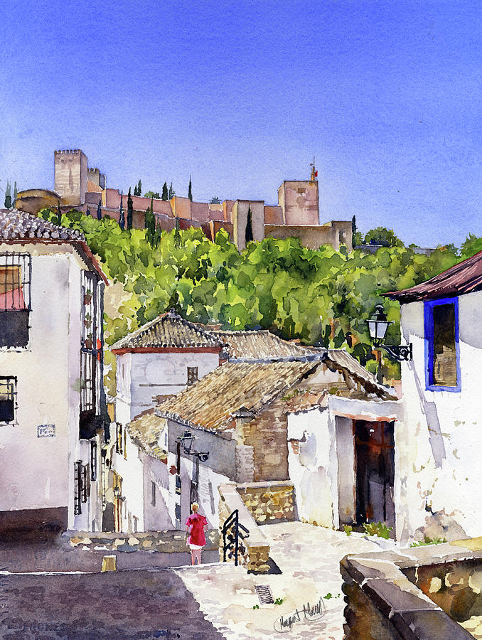 Alhambra Painting - The Alhambra From The Albaicin by Margaret Merry