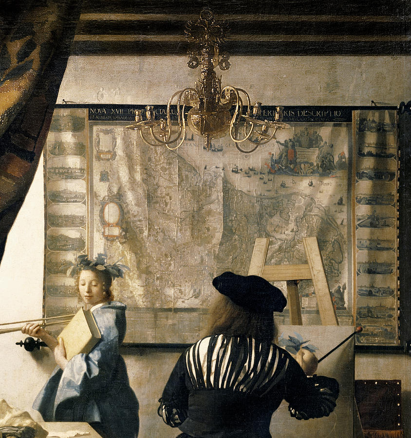 Drapes Painting - The Artists Studio by Jan Vermeer