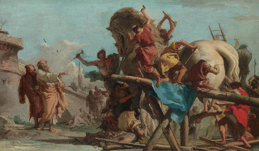 The Building of the Trojan Horse Painting by Giovanni Domenico Tiepolo