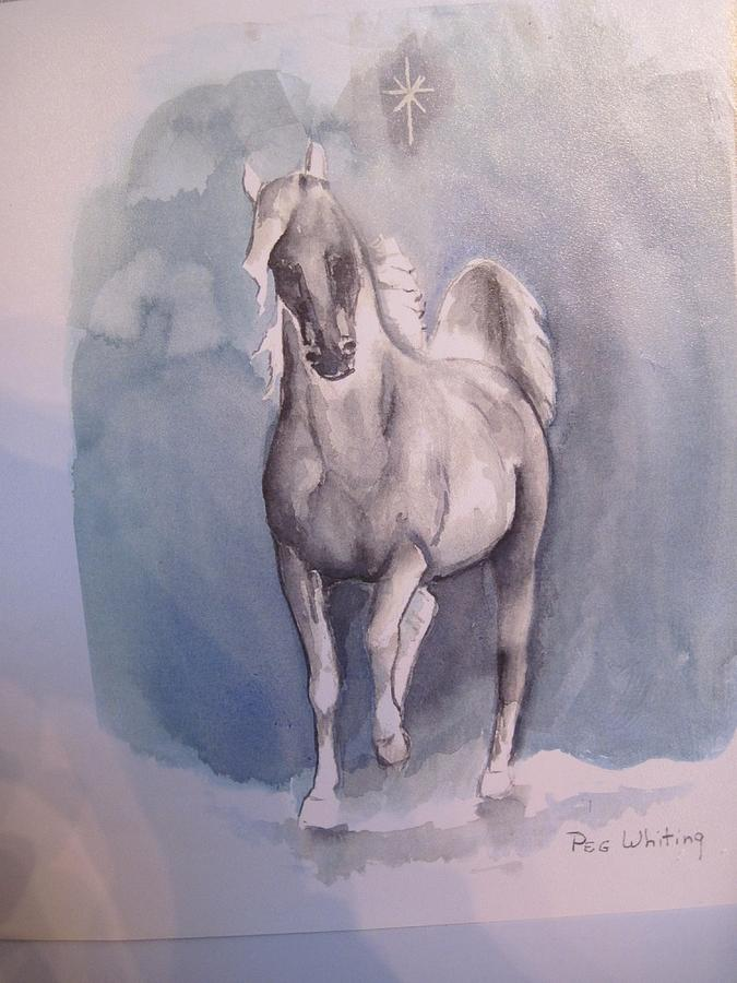 Horse Greeting Card - The First Christmas by Peg Whiting