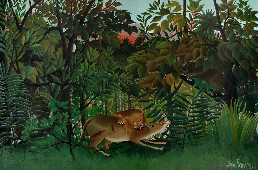 Hungry Lion Painting - The Hungry Lion Attacking An Antelope by Henri Rousseau