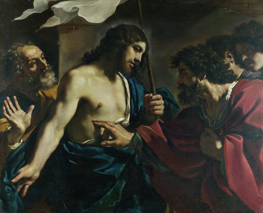 Baroque Painting - The Incredulity Of Saint Thomas by Guercino