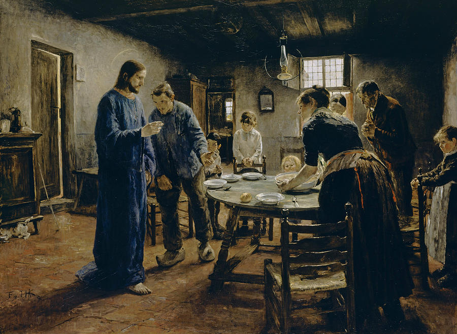 German Painters Painting - The Mealtime Prayer by Fritz von Uhde
