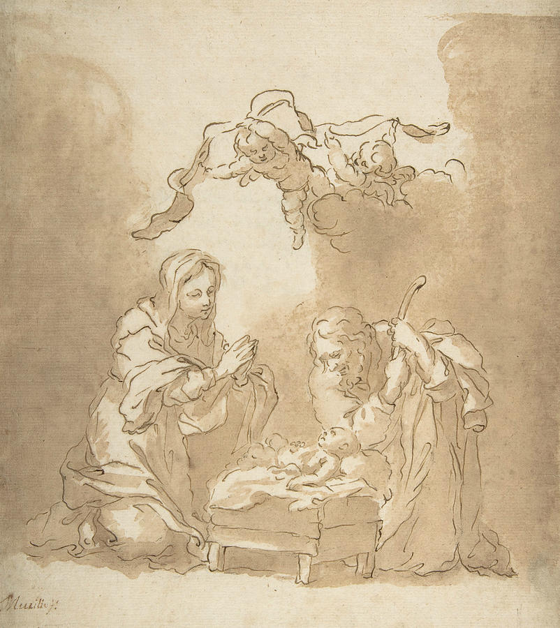 Baroque Painters Drawing - The Nativity by Bartolome Esteban Murillo