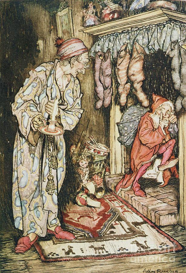 Xmas Drawing - The Night Before Christmas by Arthur Rackham