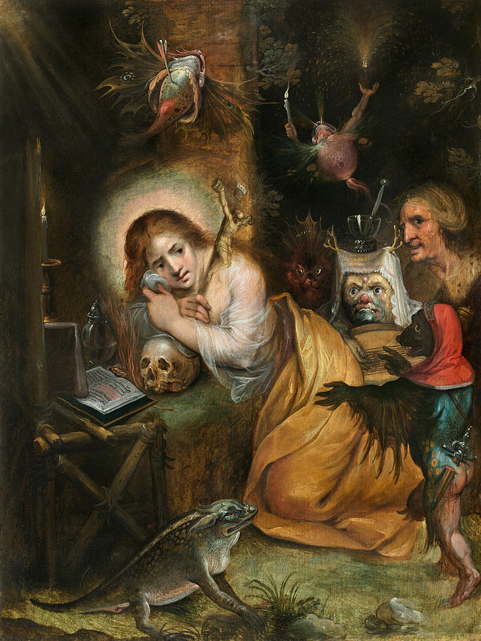 Frans Francken The Younger Painting - The Penitent Mary Magdalene Visited By The Seven Deadly Sins by Frans Francken the Younger