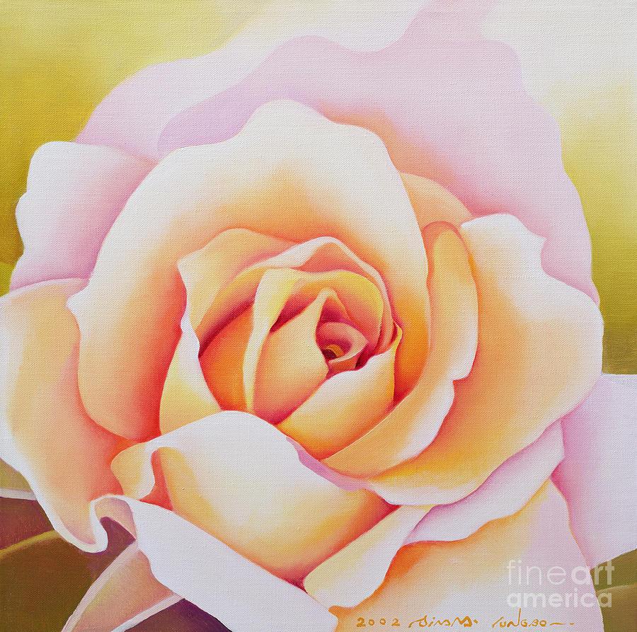 Orange Painting - The Rose by Myung-Bo Sim