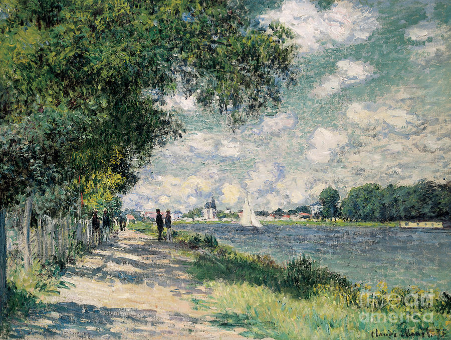Riverseine;argenteuil;riverbank;path;track;summer;sunshine;shadow;shadows;sailing Painting - The Seine At Argenteuil by Claude Monet
