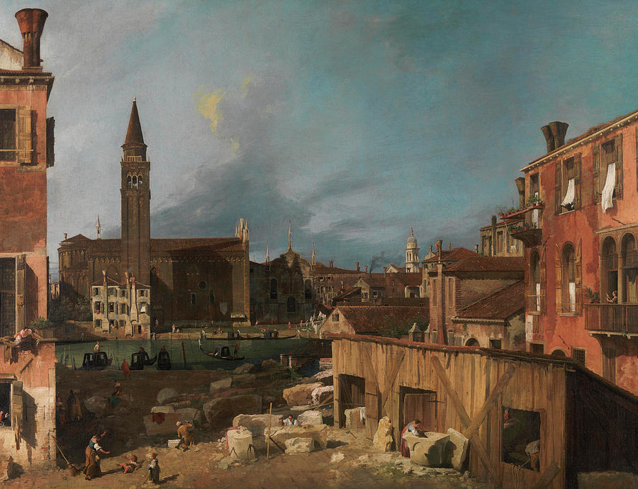 Yard Painting - The Stonemasons Yard by Canaletto