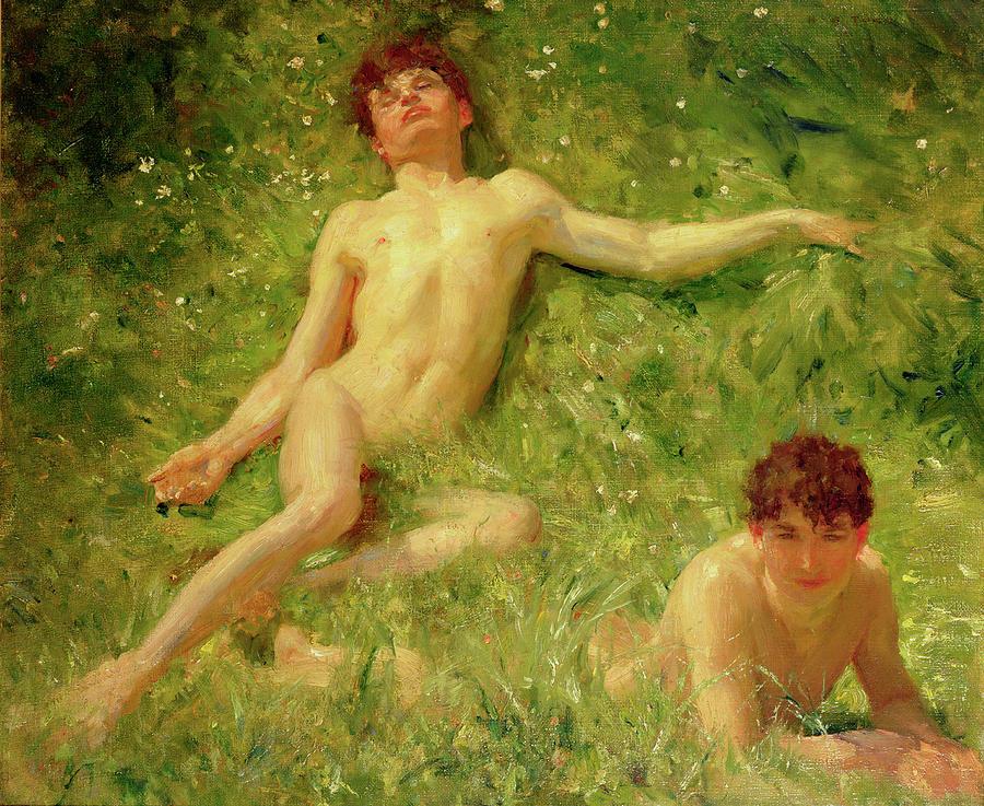 Sunbathers Painting - The Sunbathers by Henry Scott Tuke
