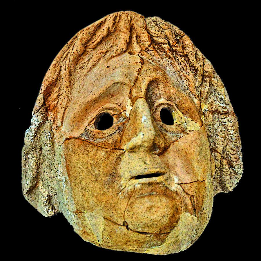 Mosaic Photograph - Theatrical Masks. Graecoroman Period. 2 by Andy Za