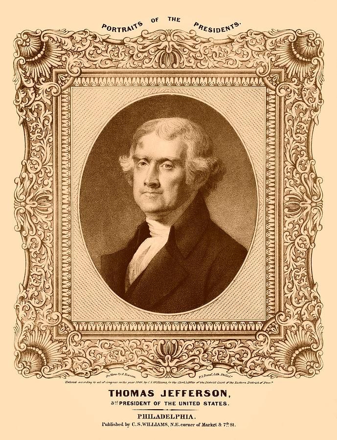 Thomas Jefferson Drawing - Thomas Jefferson by War Is Hell Store