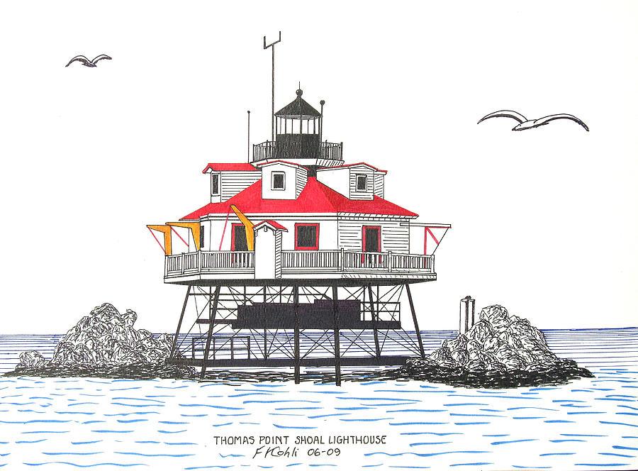 Landmark Drawing - Thomas Point Shoal Lighthouse by Frederic Kohli