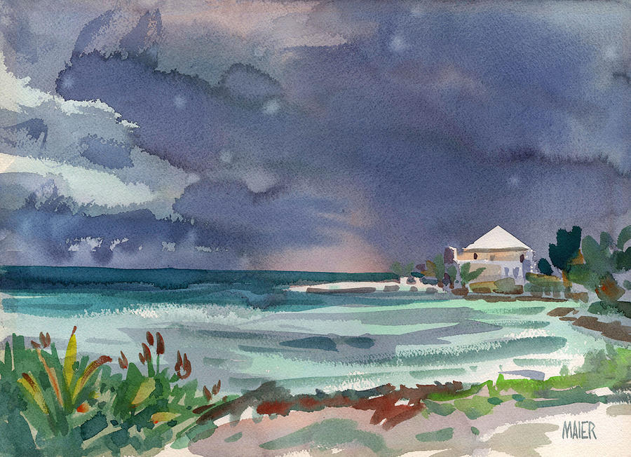 Plein Air Painting - Thunderstorm Over Key West by Donald Maier