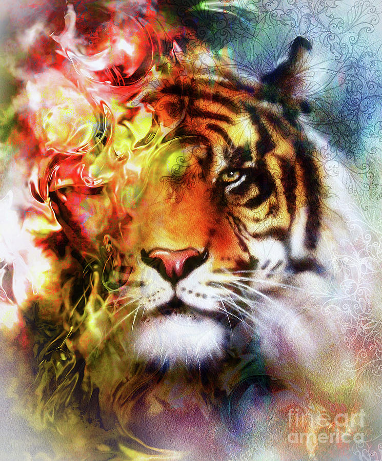 Tiger Collage On Color Abstract Background And Mandala With Ornamet