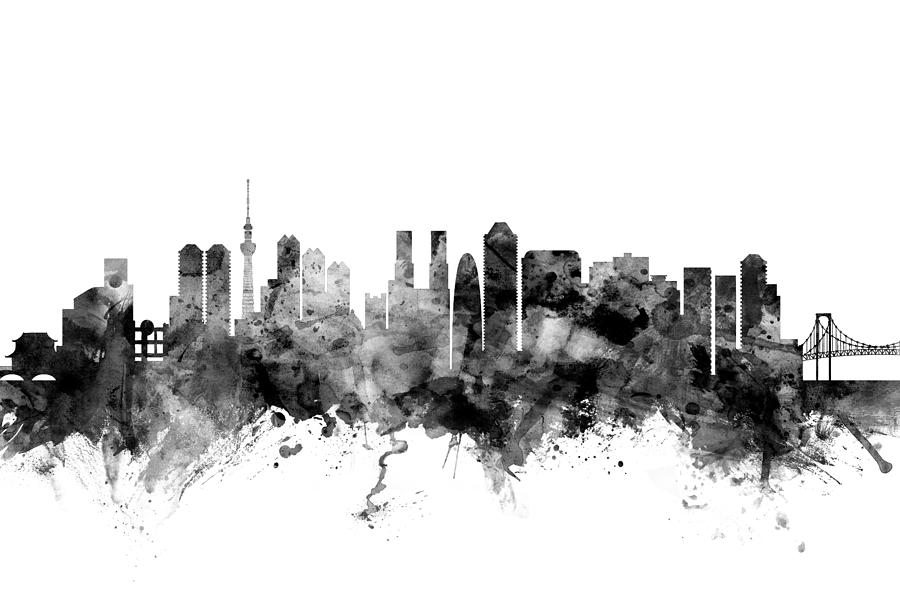 Tokyo Japan Skyline Digital Art By Michael Tompsett