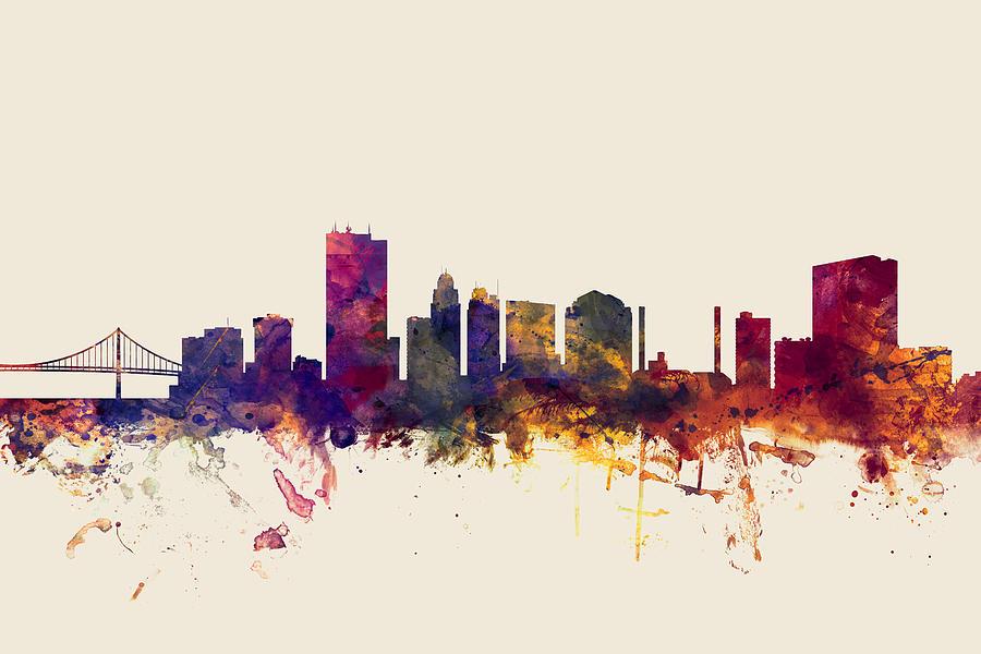 City Digital Art - Toledo Ohio Skyline by Michael Tompsett