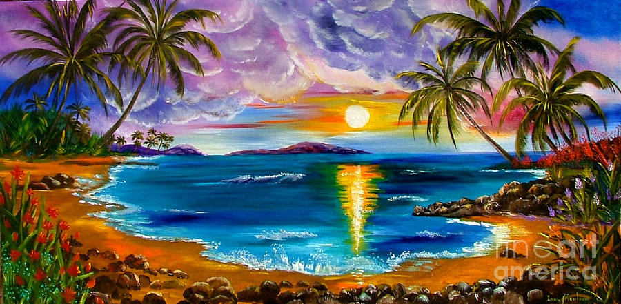 tropical sunset painting by inna montano