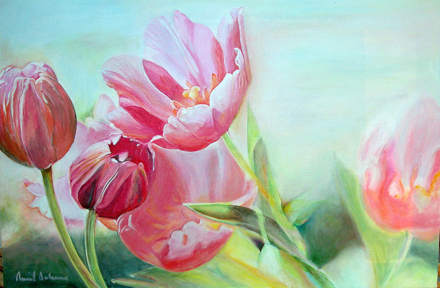 Flower Painting - Tulipes by Muriel Dolemieux