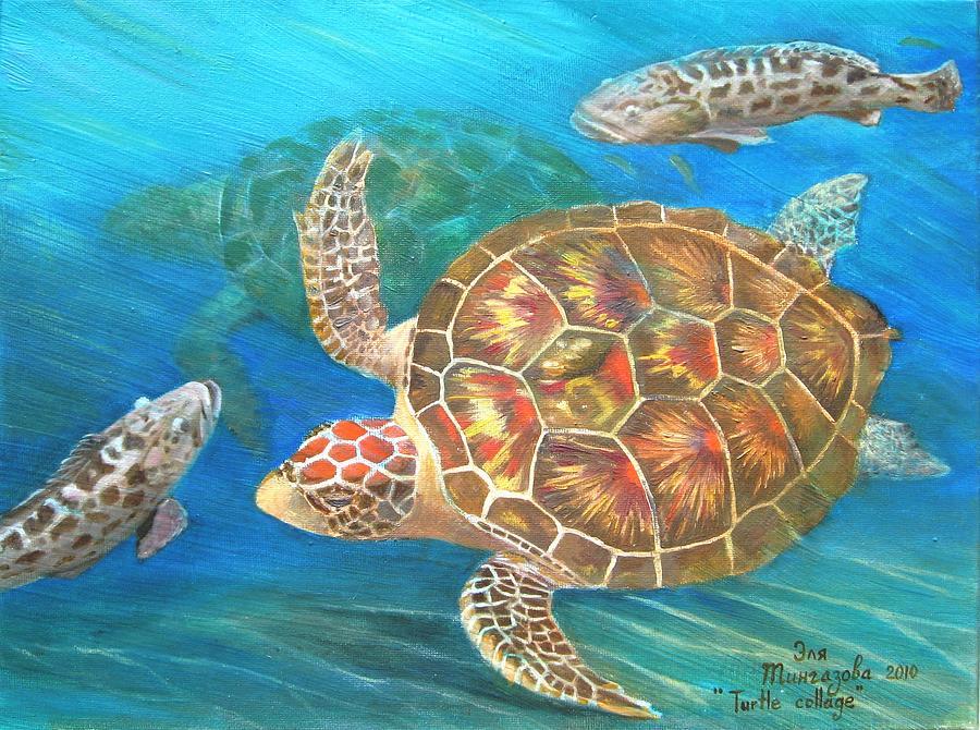Turtle Painting - Turtle Collage by Eleonora Mingazova