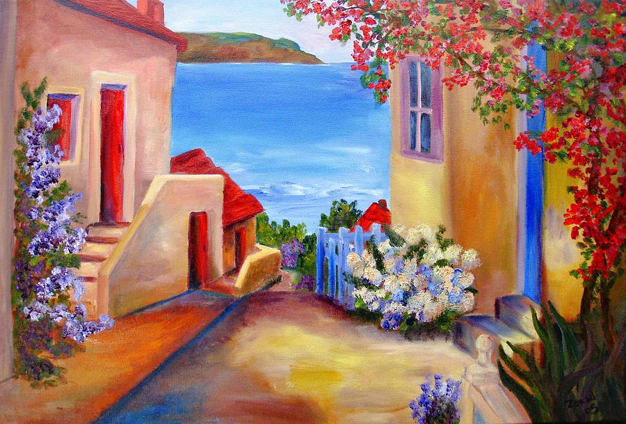 Italian Villa Painting - Tuscany Village  by Mary Jo Zorad
