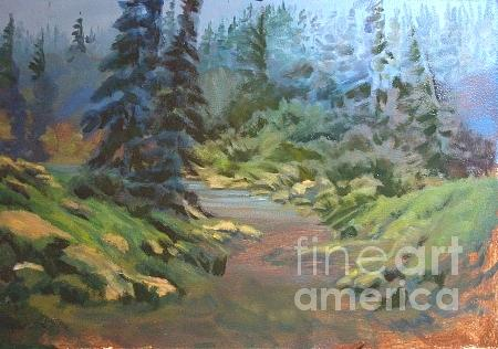 Stream Painting - Unfinished Lazy Creek in Summer by Carol Hama Chang