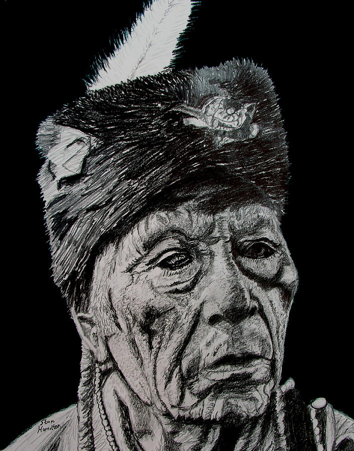 Pencil Drawing - Unknown Indian III by Stan Hamilton